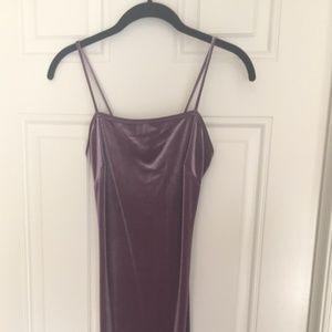 Mauve Velvet Vibes Midi Dress